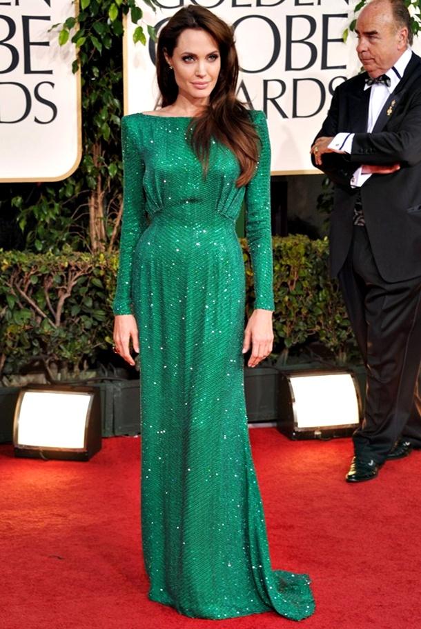 angelina jolie emerald green dress golden globes 2011