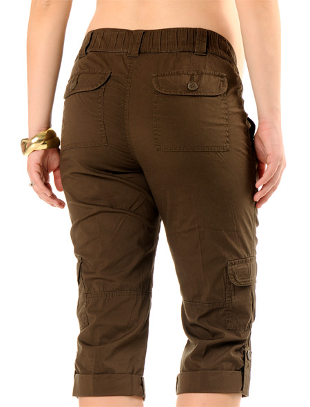 Self Belly Poplin Cargo Pockets Maternity Capri Pants Images